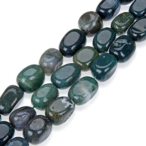 Moss Agate Beads GreenWhite Smooth Nugget 10-12mm Strand Of 40+