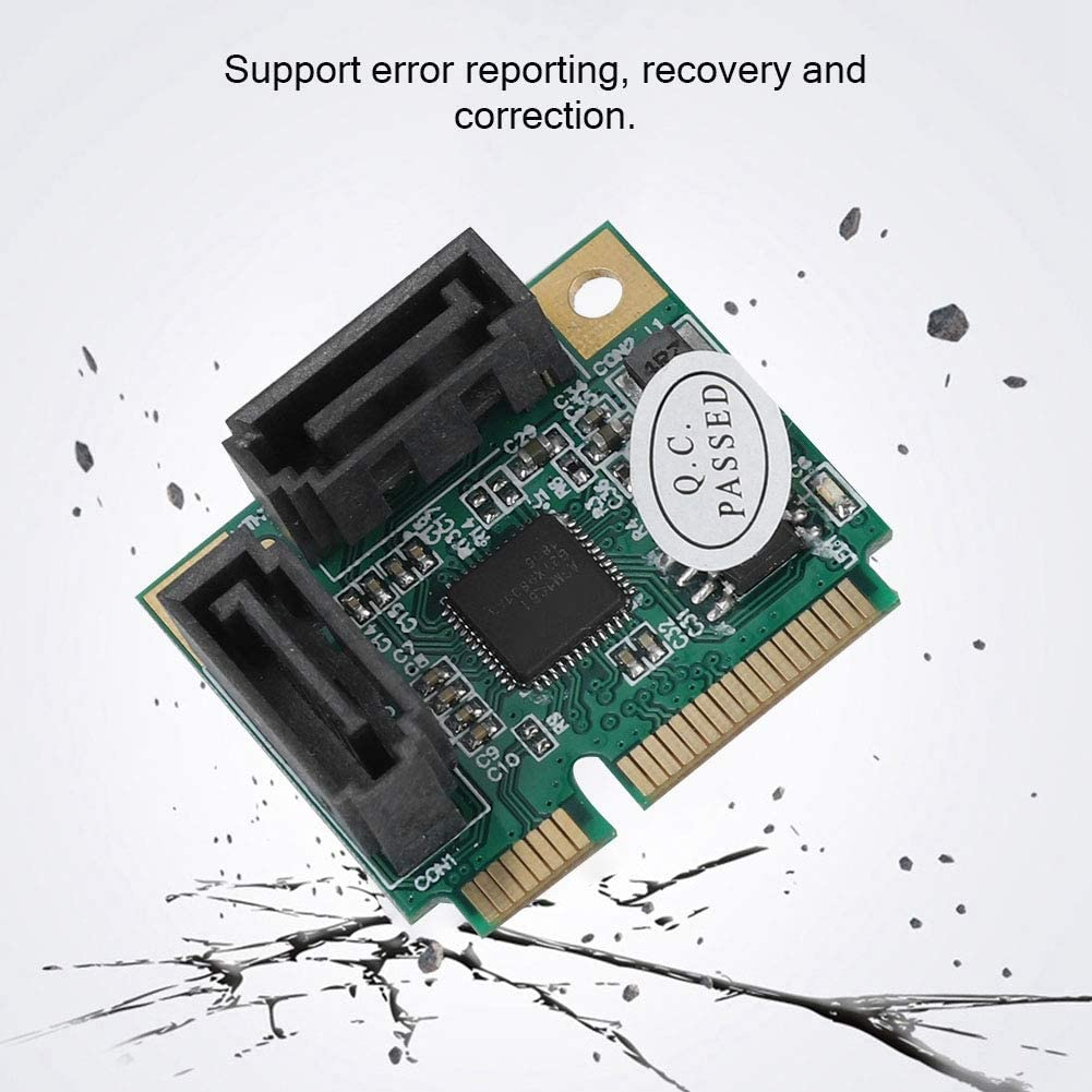 6Gbps PCI GenX Converter with Hot Swap and Power Management Function fosa Mini PCI-e to SATA 3.0 2-Port Hard Drive Expansion Card for Windows Linux