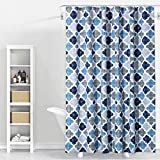CAROMIO Geometric Quatrefoil Patterned Modern Poly-Cotton Fabric Shower Curtain for Bathroom Washable 72'' x 72'' Multi Color, Navy/Blue/Grey