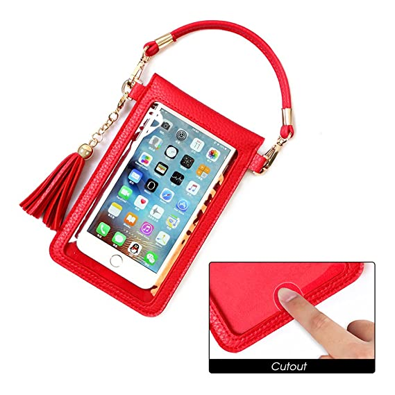c9843d2c23b1 LKZAIY PU Leather Crossbody Bag Mini Phone Pouch with Shoulder Strap for  iPhone 8