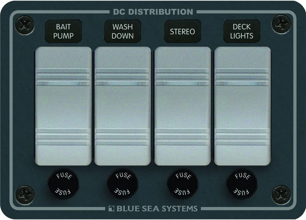 BLUE SEA SYSTEMS Blue Sea 8262 Waterproof Panel 4 Position 8262 // Slate Gray