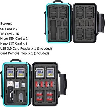 JJC Estuche Impermeable para tarjetas de memorias: 16 x tarjetas Micro SD SDHC SDXC + 7 x tarjetas SD SDHC SDXC con USB 3.0 Lector Tarjetas y Mosquetón: Amazon.es: Electrónica