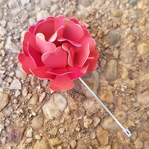 Fuchsia and Coral Tone Wild Rose Lapel Flower Pin Enamel Painted Metal