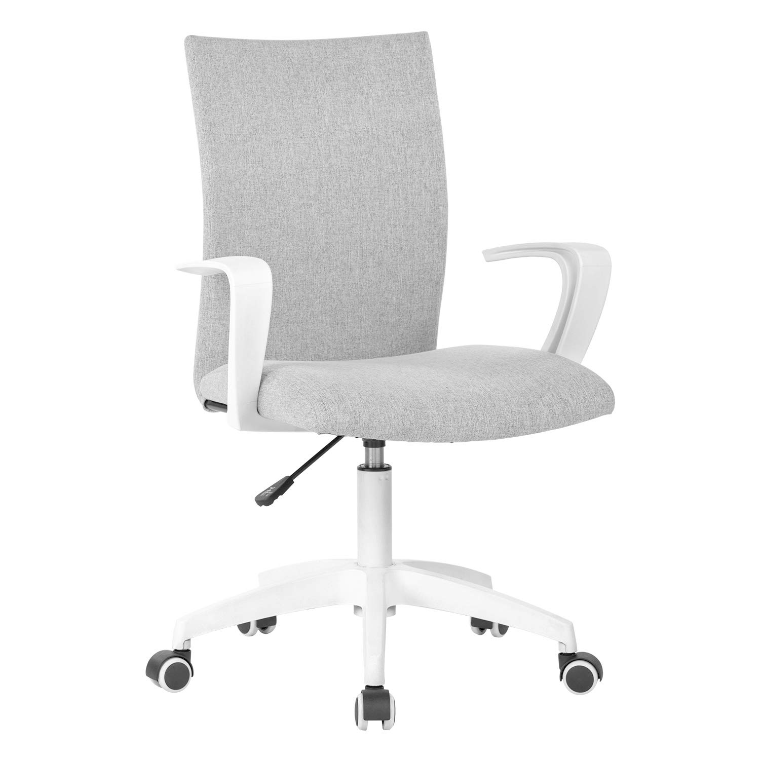 Office Desk Chair with Arms and Adjustable Height, Home Computer Task Chair for Work Space, Grey & White by LIANFENG
