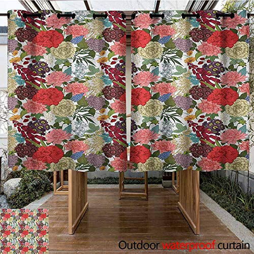 - AndyTours Outdoor Window Curtains,Floral,Hand Drawn Foxglove Hydrangea Primrose and Hyacinth Summer Foliage Romantic Design,Simple Stylish,K160C183 Multicolor