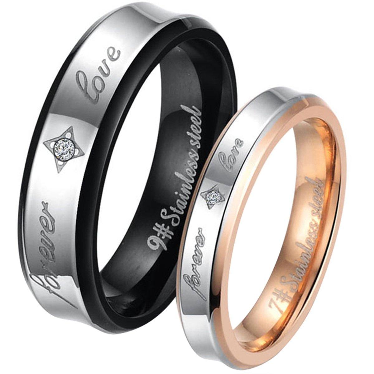 JewelryWe - Par de anillos de acero inoxidable, grabado FOREVER LOVE, para él y para ella, dorado negro plateado - Incluye bolsa de regalo: Amazon.es: ...