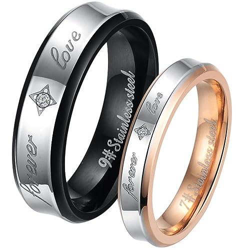 JewelryWe - Par de anillos de acero inoxidable, grabado FOREVER LOVE, para él y