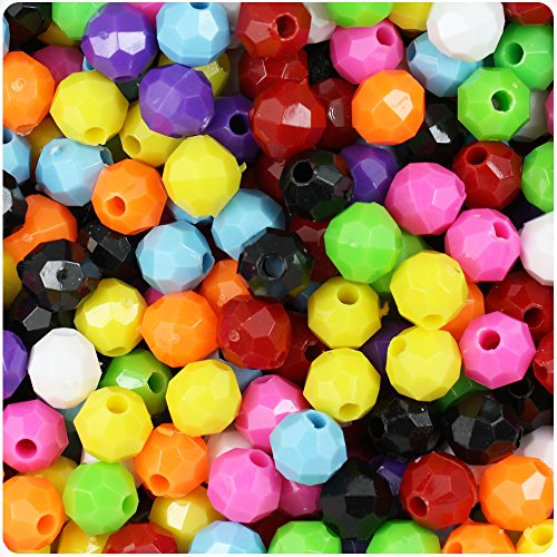 8mm Round Beads Faceted Acrylic (BEADTIN Mixed Opaque 8mm Faceted Round Craft Beads (450pc))