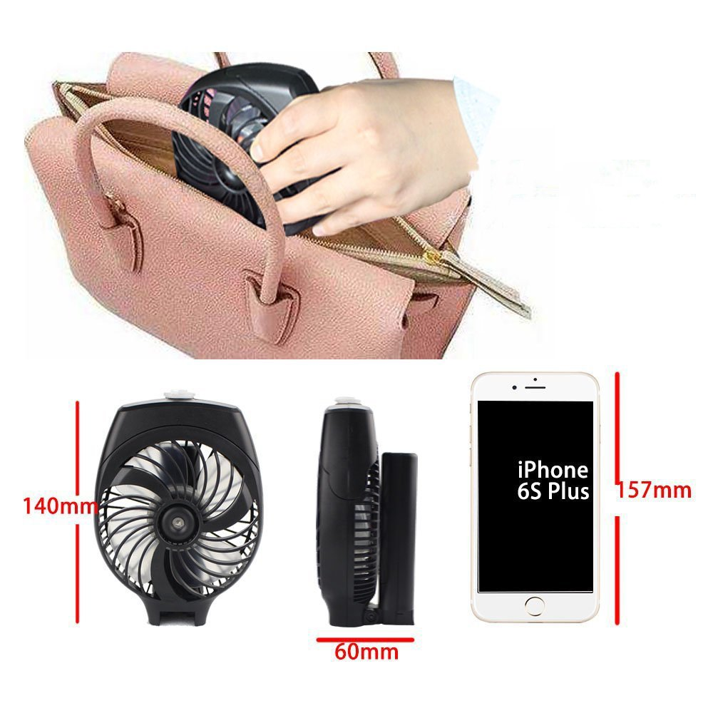 FLhY Mini Portable Handheld Fan Rechargeable Battery Foldable Personal Electric USB Power Bank Hand Fan Desk Desktop Table Cooling for Office Room Outdoor Household Traveling(Black)