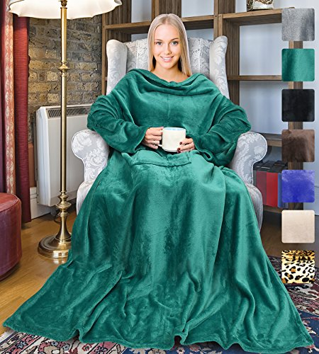 Terrania Wearable Fleece Blanket with Sleeves and Pocket for Women Men, Super Soft Microplush Adult Wrap Full Body Blanket Robe for Lounge Couch As Seen On TV 73