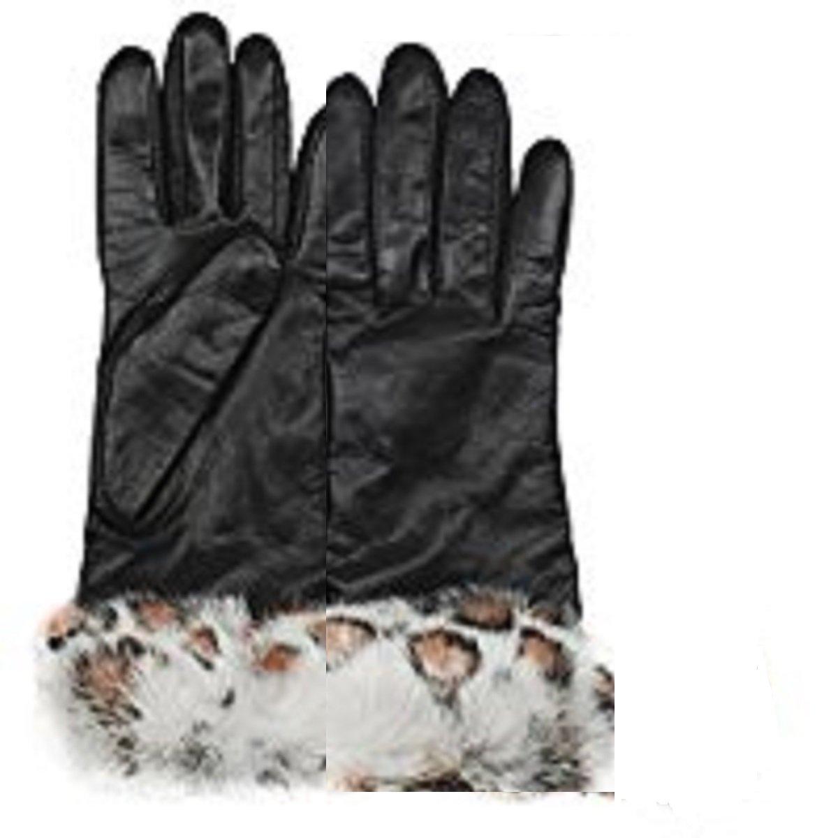 Grandoe Women's NAPLES Sheepskin Butter Soft Leather Gloves Real Rabbit Fur Cuff, Color: Black/Sno Leopard, Size L