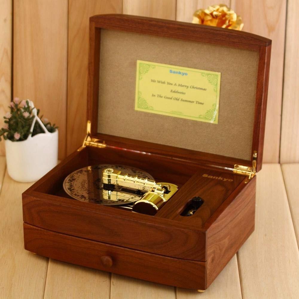 GSKTY - Caja de música con tocadiscos (madera, 25 x 18 x 12 ...