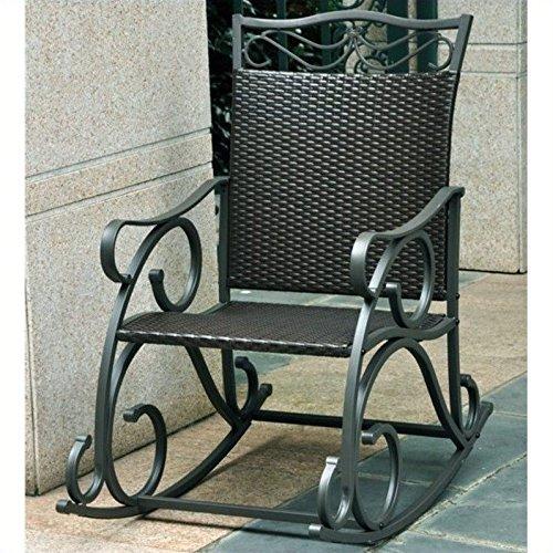 (International Caravan 523816 Wicker Resin/Steel Porch Rocker Antique)