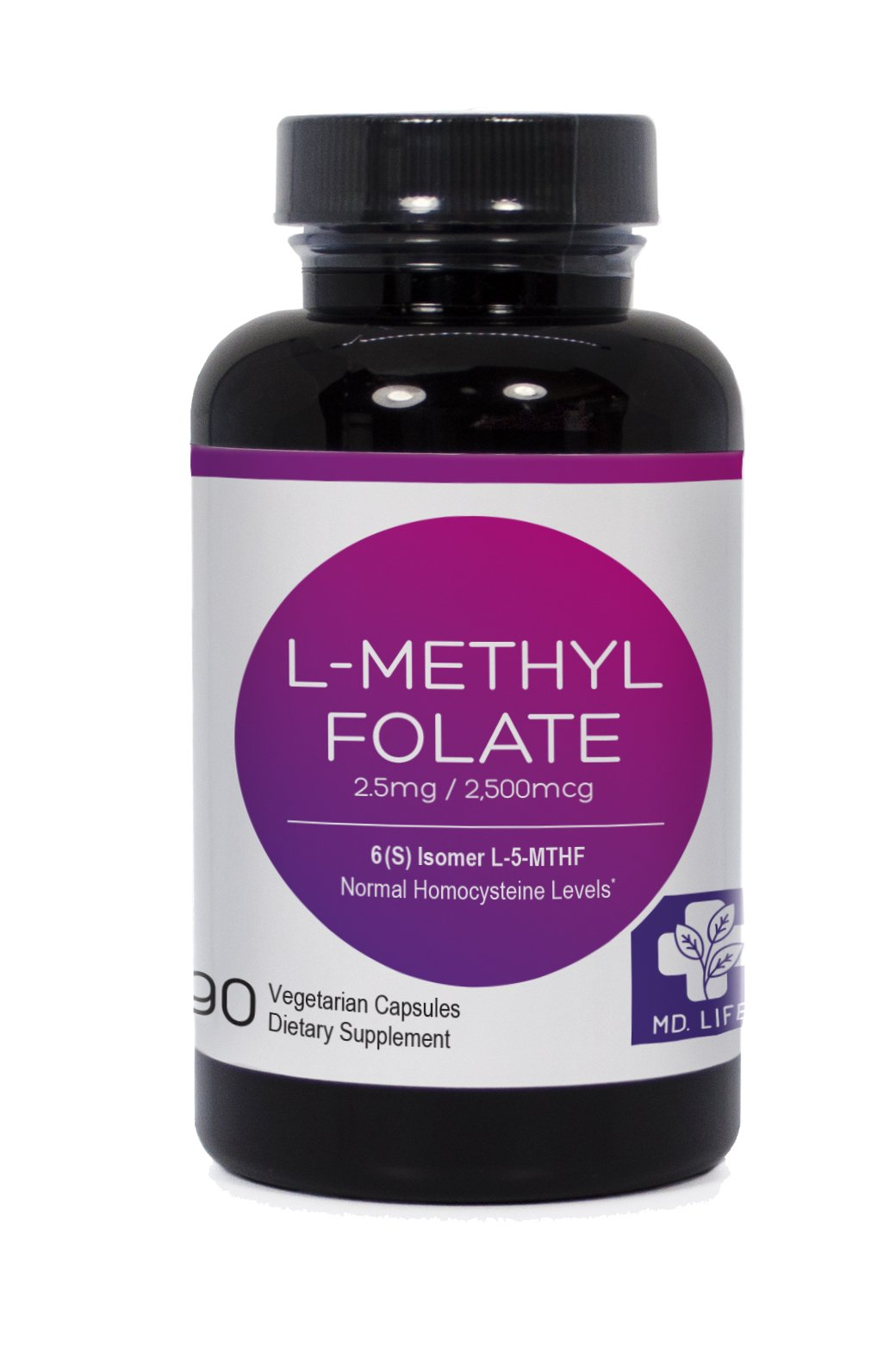MD.LIFE 5-MTHF L-Methylfolate 2.5 MG 2500 mcg Professional Strength Active Folate 90 Capsules