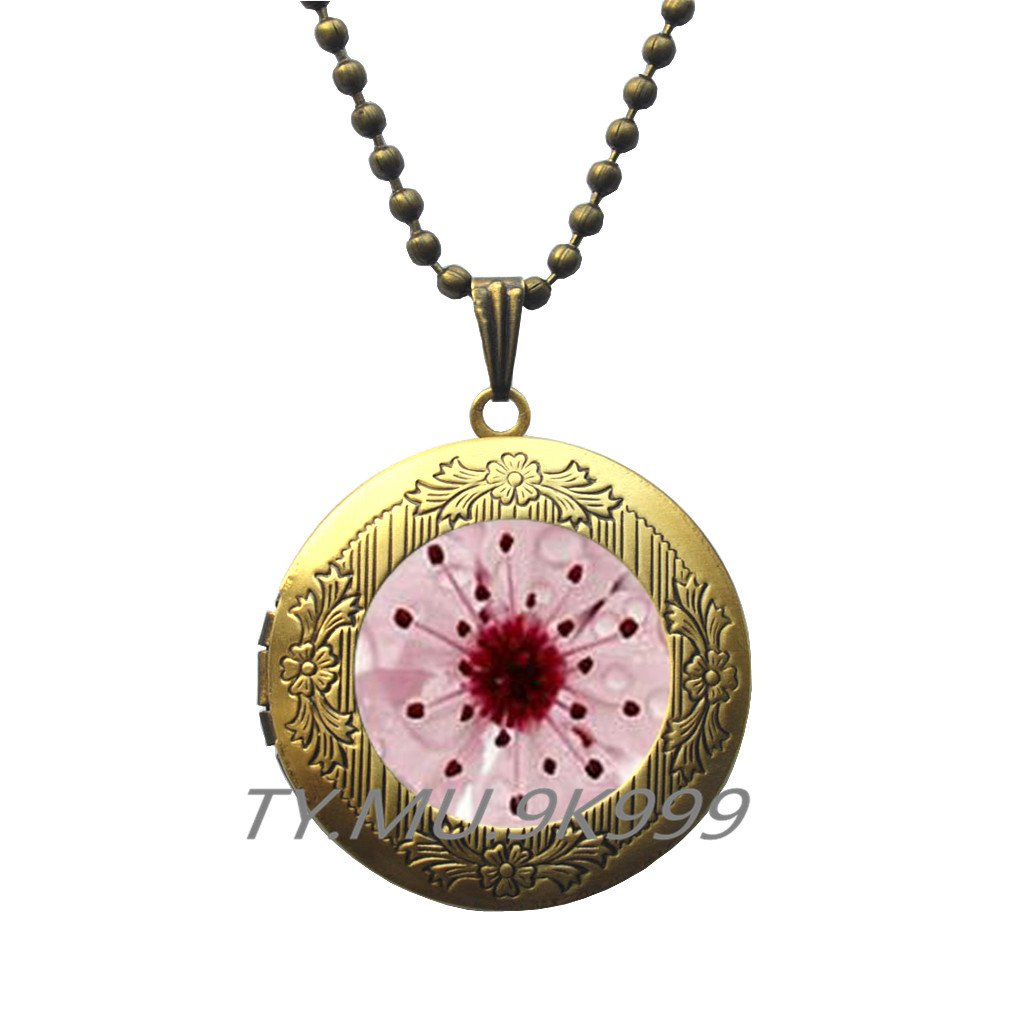 Cherry Blossom Jewelry Pink cherry bloom Locket Pendant.Y154 Spring Flower Jewelry Cherry Blossom Locket Pendant Yao0dianxku Sakura blossom Locket Necklace