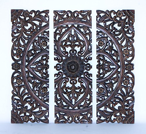 benzara modern wood wall panel with dark finish 36 inch set of 3 - Decorative Wood Panels