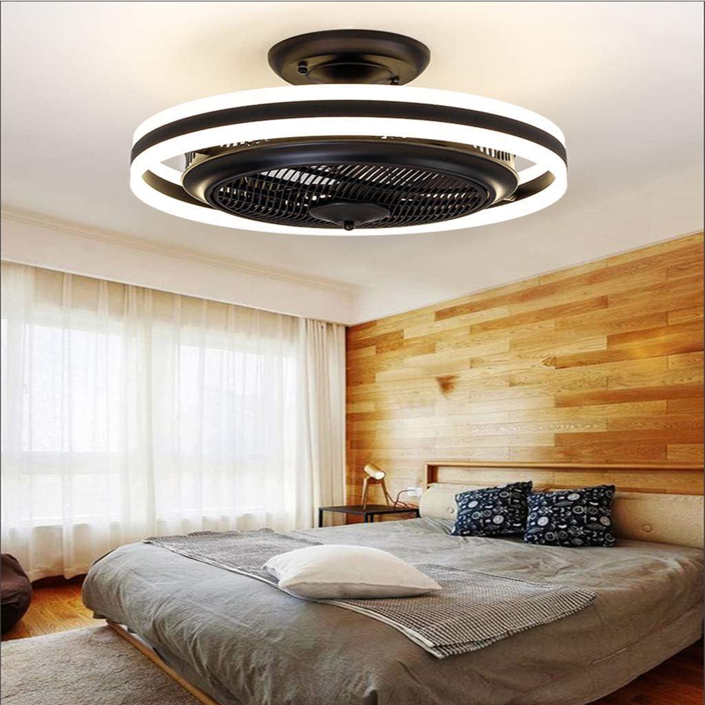 Deckenventilator Mit Beleuchtung Dimmbar Mit Fernbedienung Unsichtbare Leise Ventilator//Schwarz///Ø60cm 68W Moderne LED Deckenlampe Fan Deckenventilator Einstellbare Windgeschwindigkeit