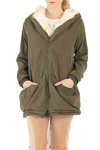 La Mujer Casual Hoodie Solid Peludo Caliente Parkas Invierno Outwear Con Bolsillo