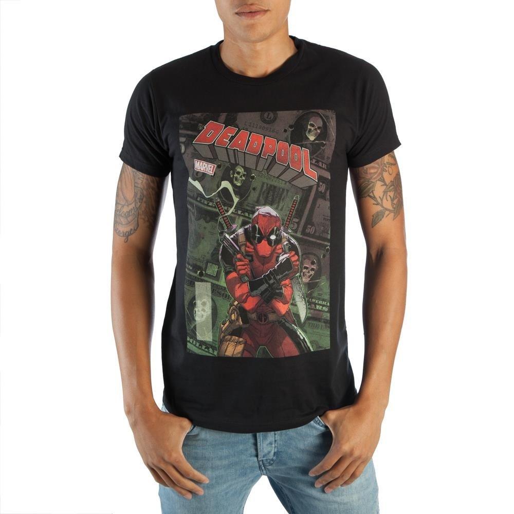 Bioworld Stylish Marvel Deadpool Mens Black Comic Artwork Graphic Print Boxed Cotton T-Shirt Large