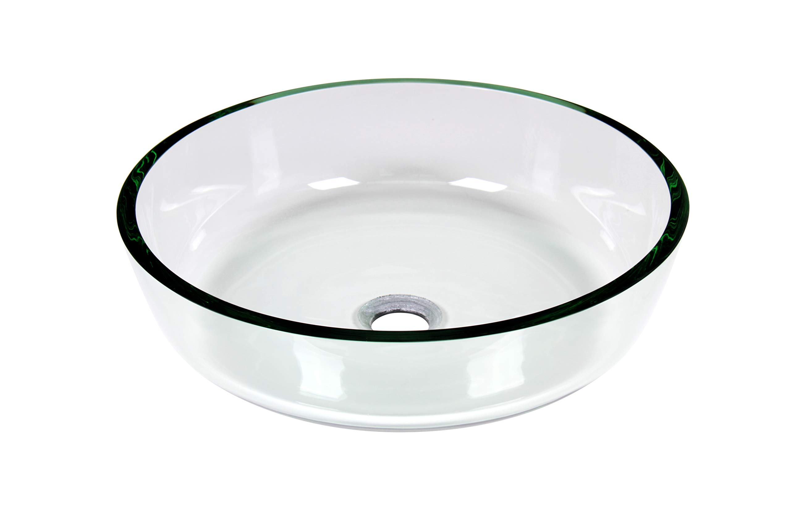 Jano Modern Round Flat Bottom Clear Tempered Glass Vessel Sink Bathroom Sink with Pop Up Drain