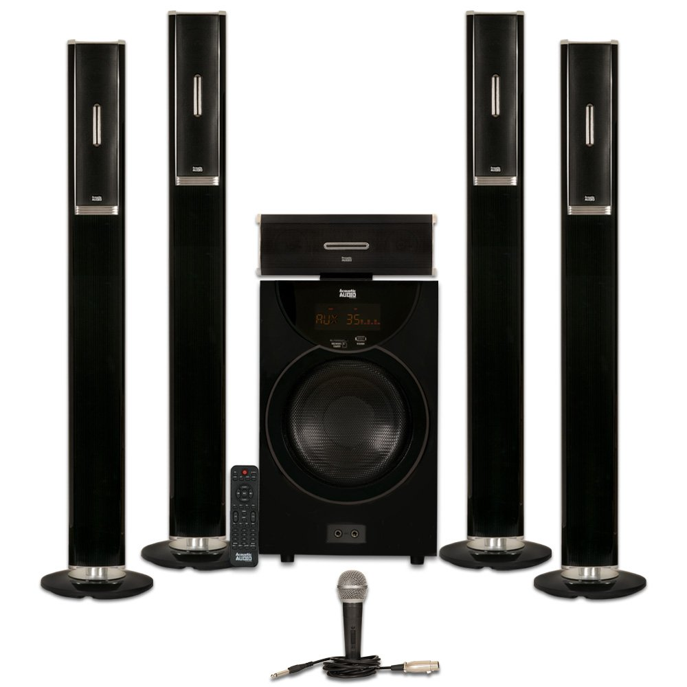 Acoustic Audio AAT2002 Tower 5.1 Bluetooth Speaker System with 8'' Powered Subwoofer and Microphone