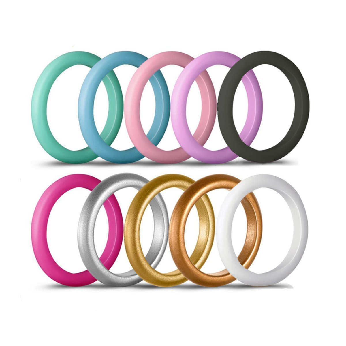 Shinelin Silicone Wedding Rings Rubber Bands Thin and Stackable Ring for Women 3mm Width 10 Pack (7) by Shinlin (Image #2)