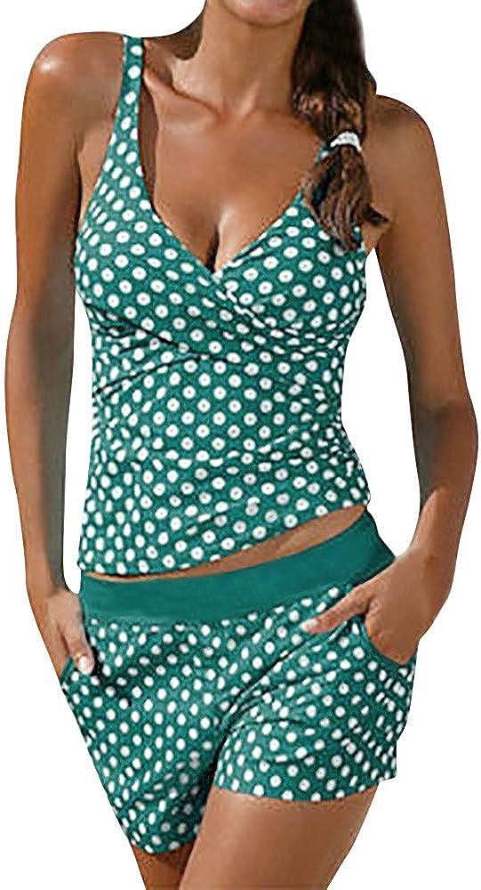 BOLANQ Frauen Tankini Badeanzug Bikini Beachwear Bademode Badeanzug Gepolstert Push Up Plus