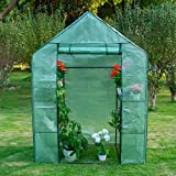 Sundale Outdoor Portable Gardening 2 Tier 4 Shelf Steeple Green House with PE Cover, Waterproof...