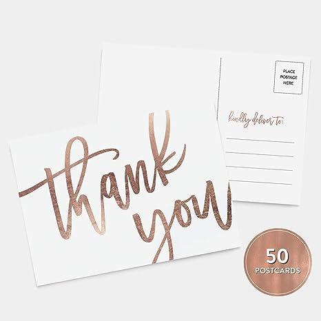 Amazon.com: 50 tarjetas postales de agradecimiento de oro ...