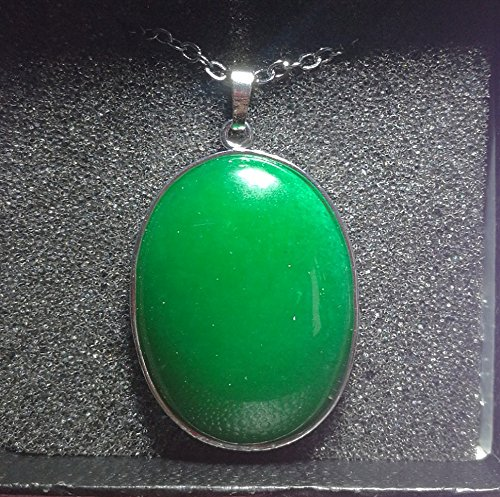 1 Pcs 2'' Beautiful Jewelry Hand Carved Gemstone Green Jade In Sliver Frame Pendant With Silver Chain Necklace 50mm(Green (Green Jade Gems)