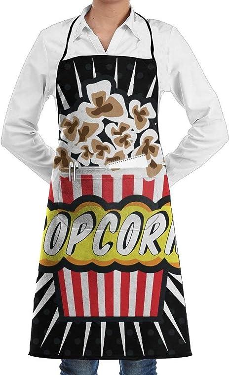 Delantal de cocina con bolsillos, diseño de palomitas de maíz ...