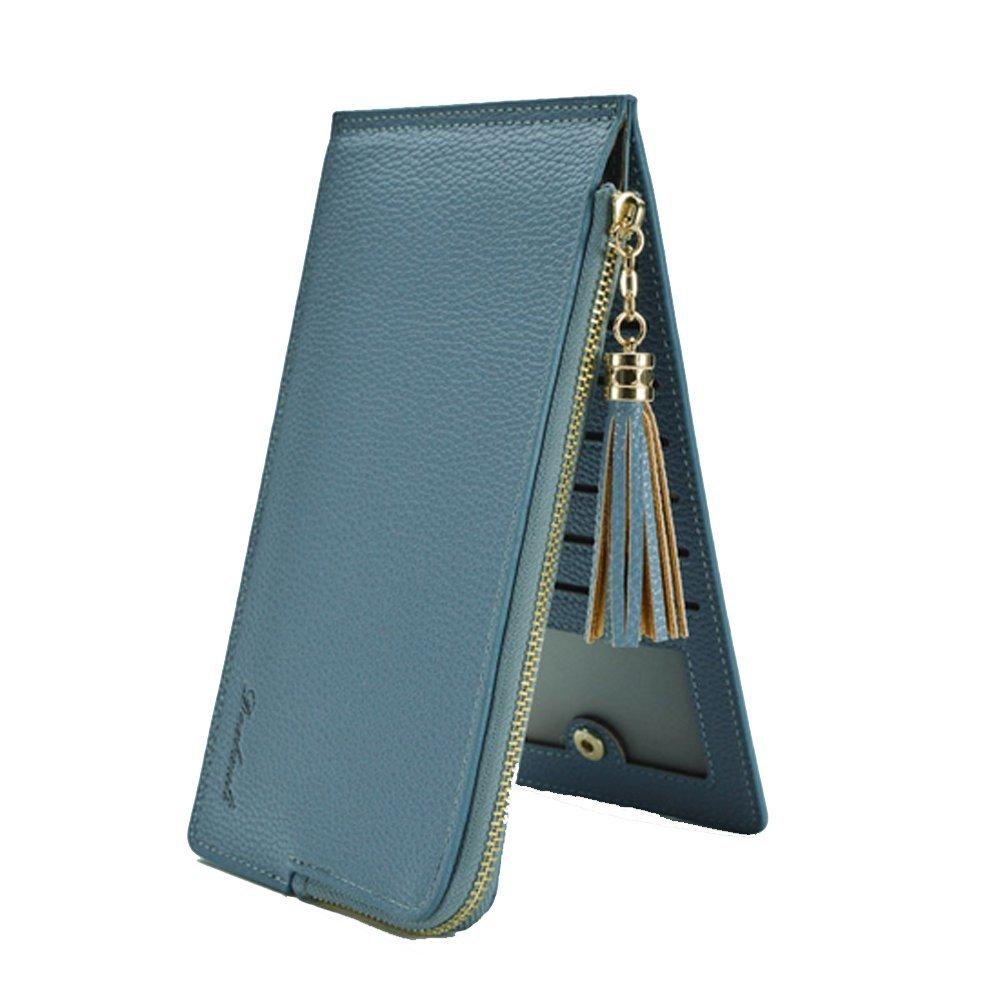YaJaMa Leder Reißverschluss Kreditkartenhüllen Lange Kartenetui Kartenmappe Geldbörse Handytasche mit Quaste (Blau)