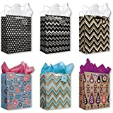 All Occasion Birthday Party Gift Bags Set of 6 Large Birthday Gift Bags W/ Flowers, Decorative Stripes, Tags, and Tissue Paper for Kids, Men, Women, Boys, Girls