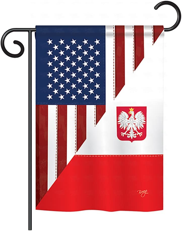 "Breeze Decor G158379-BO Polish World US Friendship Decorative Vertical Garden Flag, 13""x 18.5"", Multi-Color"
