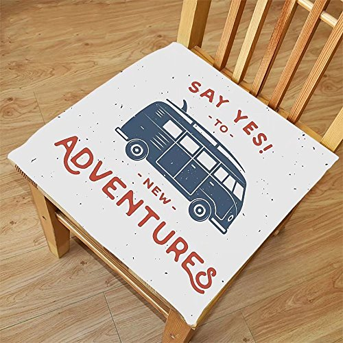 Nalahome Set of 2 Waterproof Cozy Seat Protector Cushion Vintage Decor New Adventures Typography with Little Van Hippie Style Life Free Spirit Design Blue Red Printing Size - Sunglasses Van Dries Noten