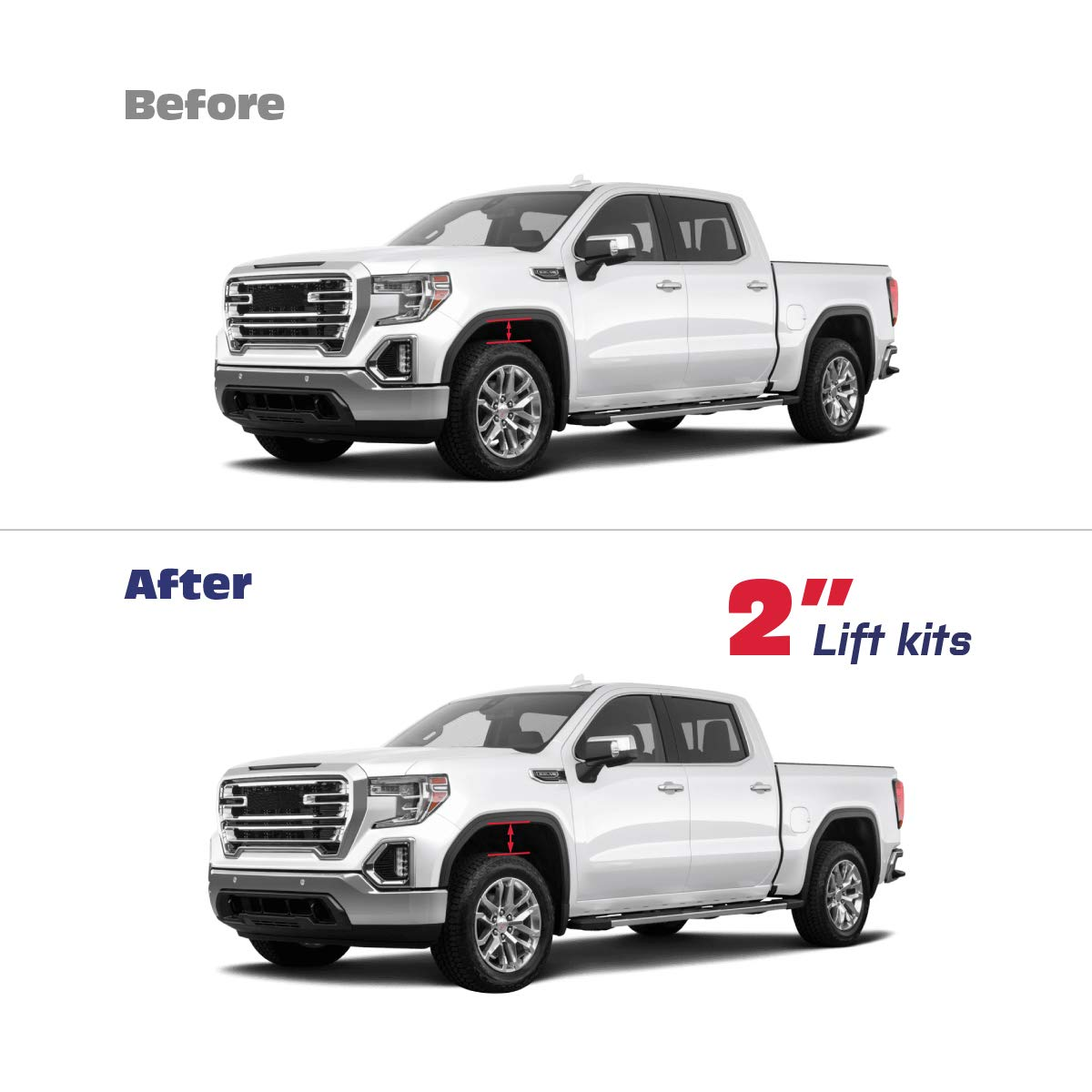 """1 Year Warranty KSP Forged Lift Kit 2 Front Lift Kit For 2007-2019 Silverado Sierra 1500 Front Strut Spacers Raise the Front Of Your Chevy 2 Inch 2/"""" Leveling Lift Kit for Silverado Sierra 1500"""