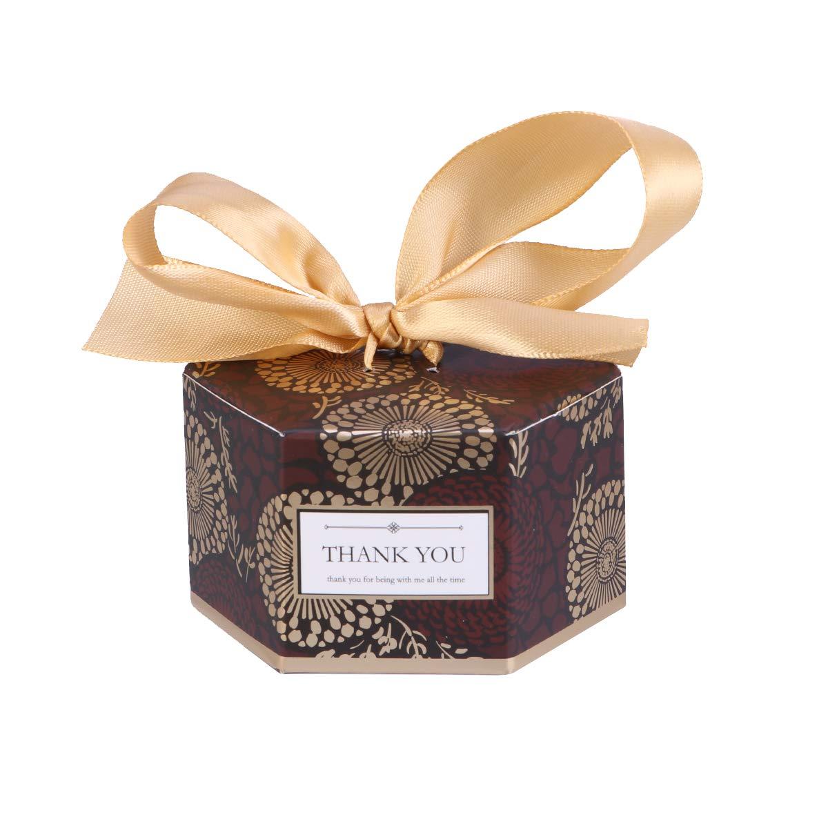 Amazon Com Amosfun 20pcs Wedding Candy Boxes Hexagonal Ribbon Candy