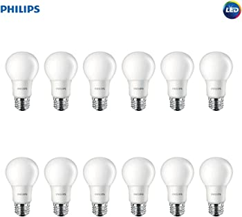 12-Pack Philips 60-Watt LED Non-Dimmable A19 Frosted Light Bulb