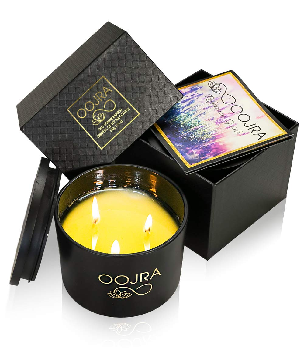 OOJRA Large 13oz/370g 3 Wick Jasmine Bamboo Essential Oil Scented Soy Wax Luxury Aromatherapy Candle with Lid and Gift Box