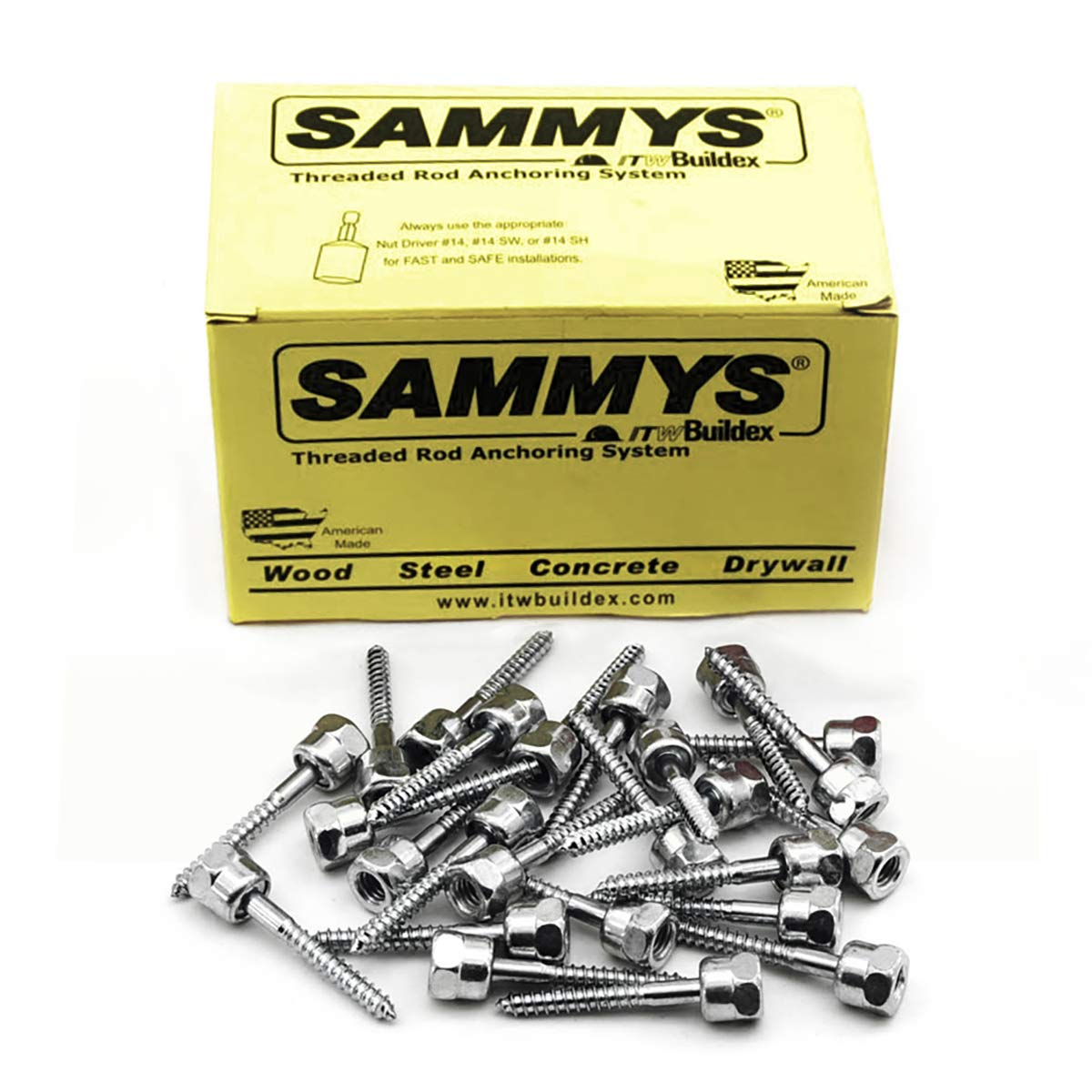 Sammys 8009925-25 Vertical Rod Anchor Super Screw with 3/8 in. Threaded Rod Fitting, 3/8 x 2-1/2'' Screw, for Wood (Pkg.=25)