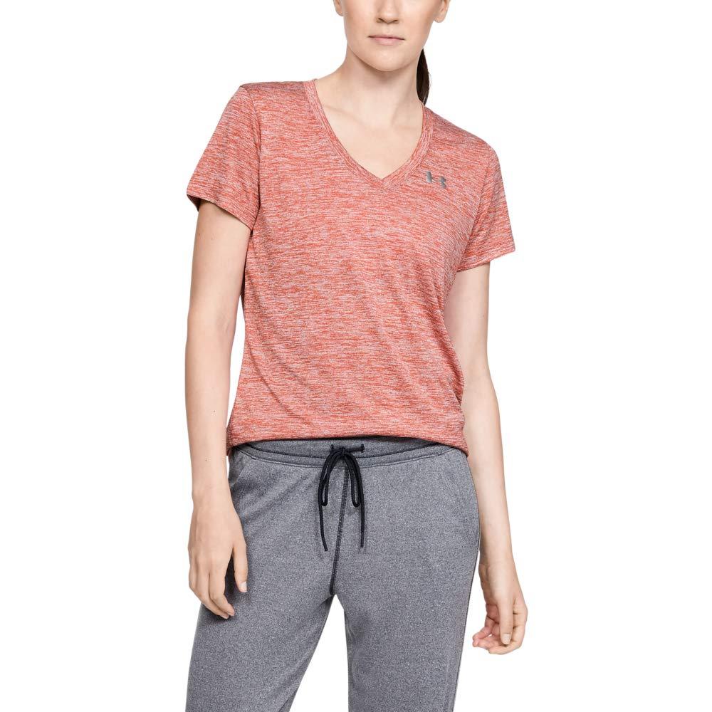 Under Armour Women's Tech V-Neck Twist Short Sleeve T-Shirt, Fractal Pink (692)/Metallic Silver, Medium by Under Armour