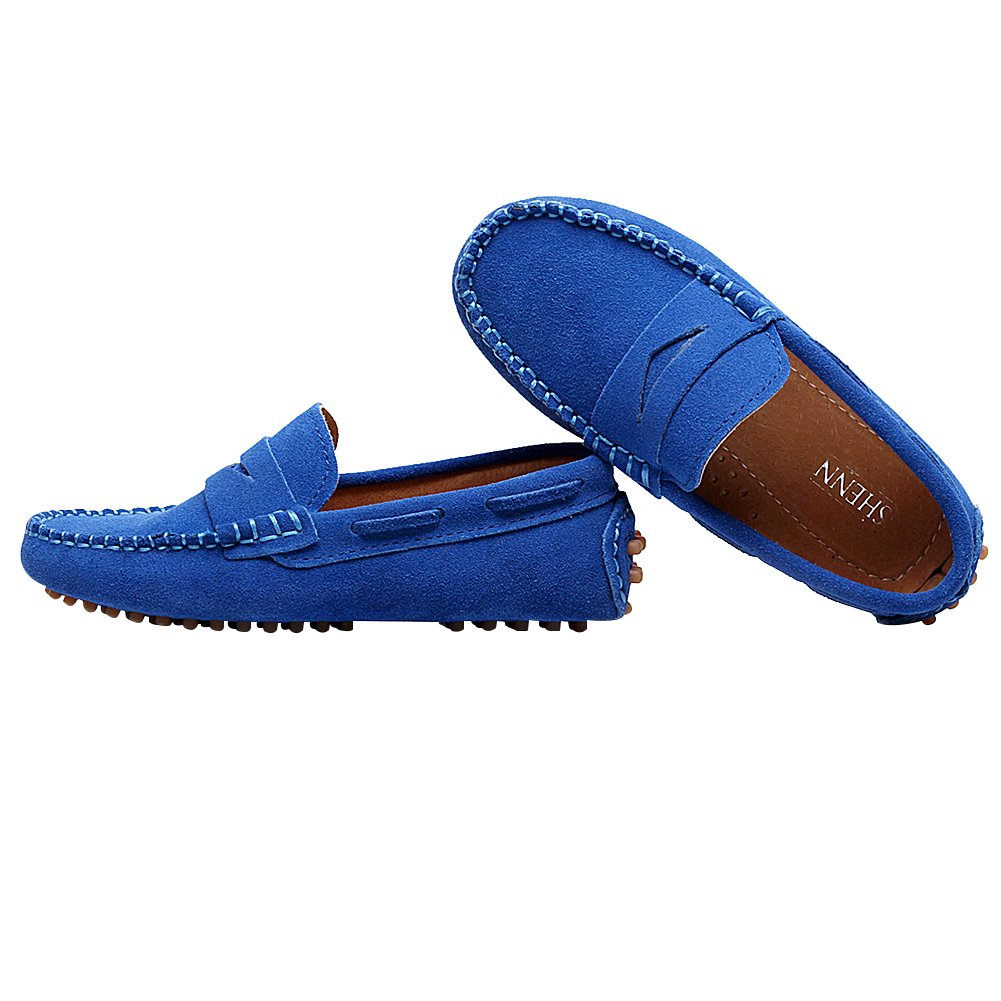 bf6572d3ce7 Shenn Boys Cute Slip-On Suede Leather Loafers Shoes S8884 Boys