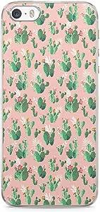 iPhone SE Transparent Edge Phone case Cactus Phone Case Boho Phone Case Cactus Pattern Phone Case Pink Cactus