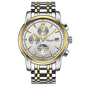 Relojes mecanicos automático para Hombre Luminoso SL-803 / Tendencia de Moda multifunción Impermeable/Movimiento SOLLEN/Calendario/Correa de Acero ...
