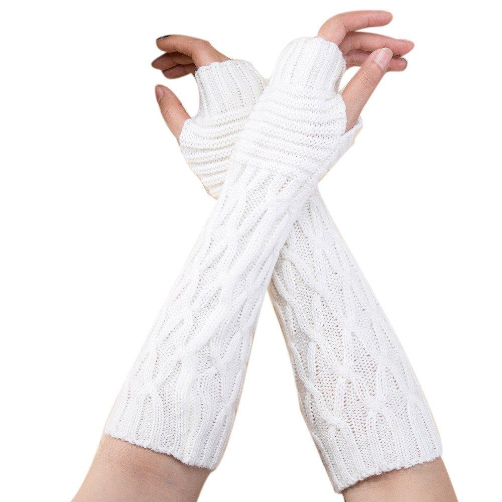 Fossen guantes mujer invierno lana tejido de punto guantes largos sin dedos