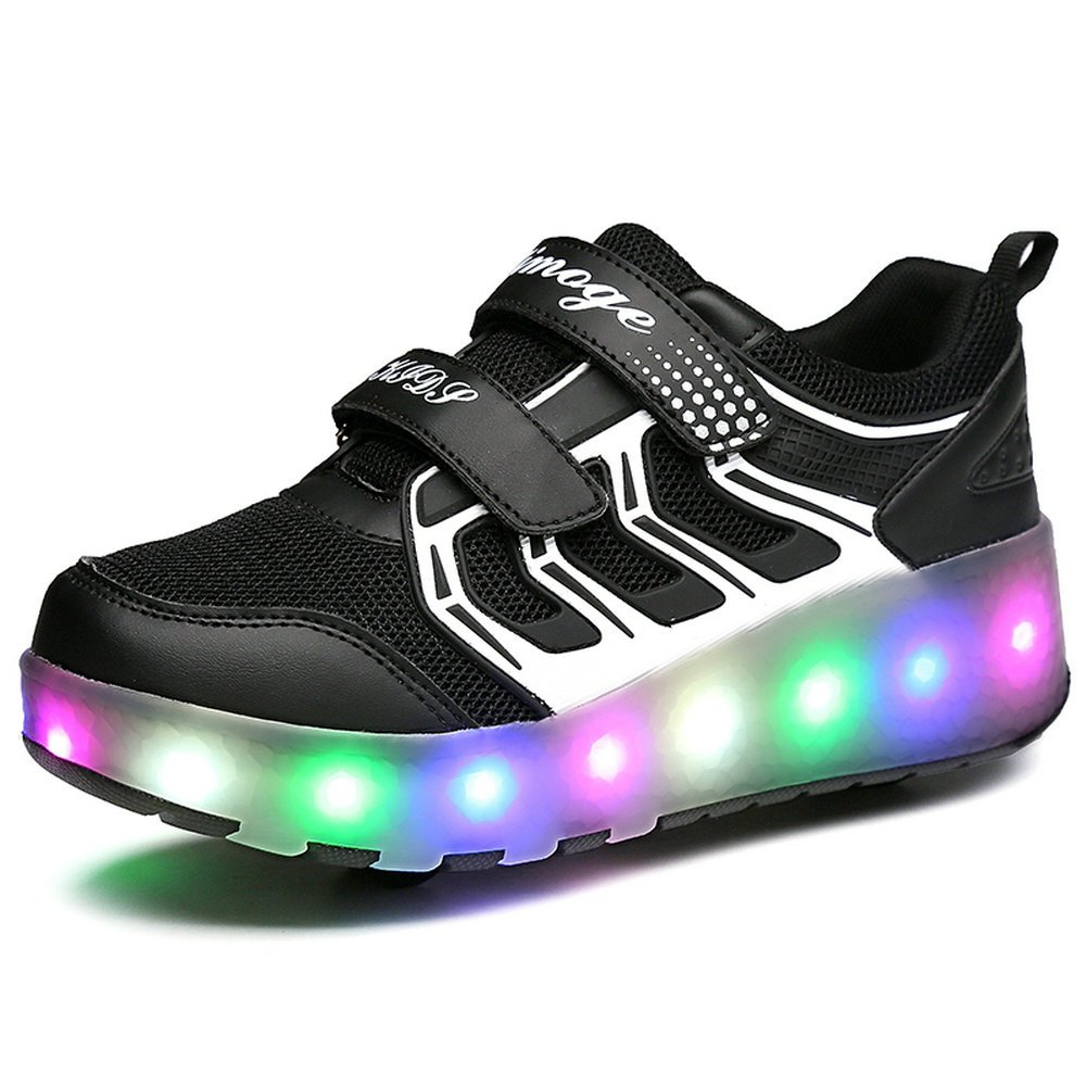 a0111588335e2 Chic Sources Boys Girls Light up Roller Shoes with 2 Wheels Skate Sneakers  for Kids Youth