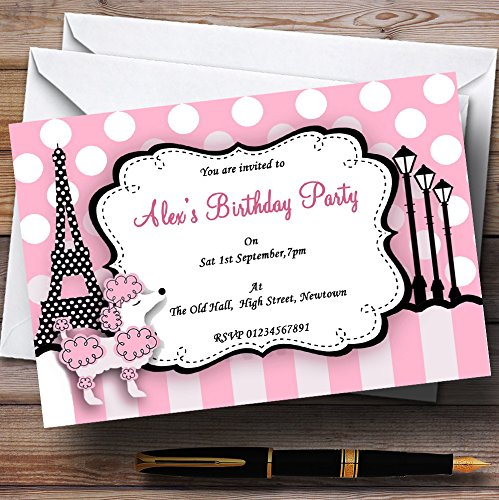 Pink Poodle Paris Theme Personalized Birthday Party Invitations