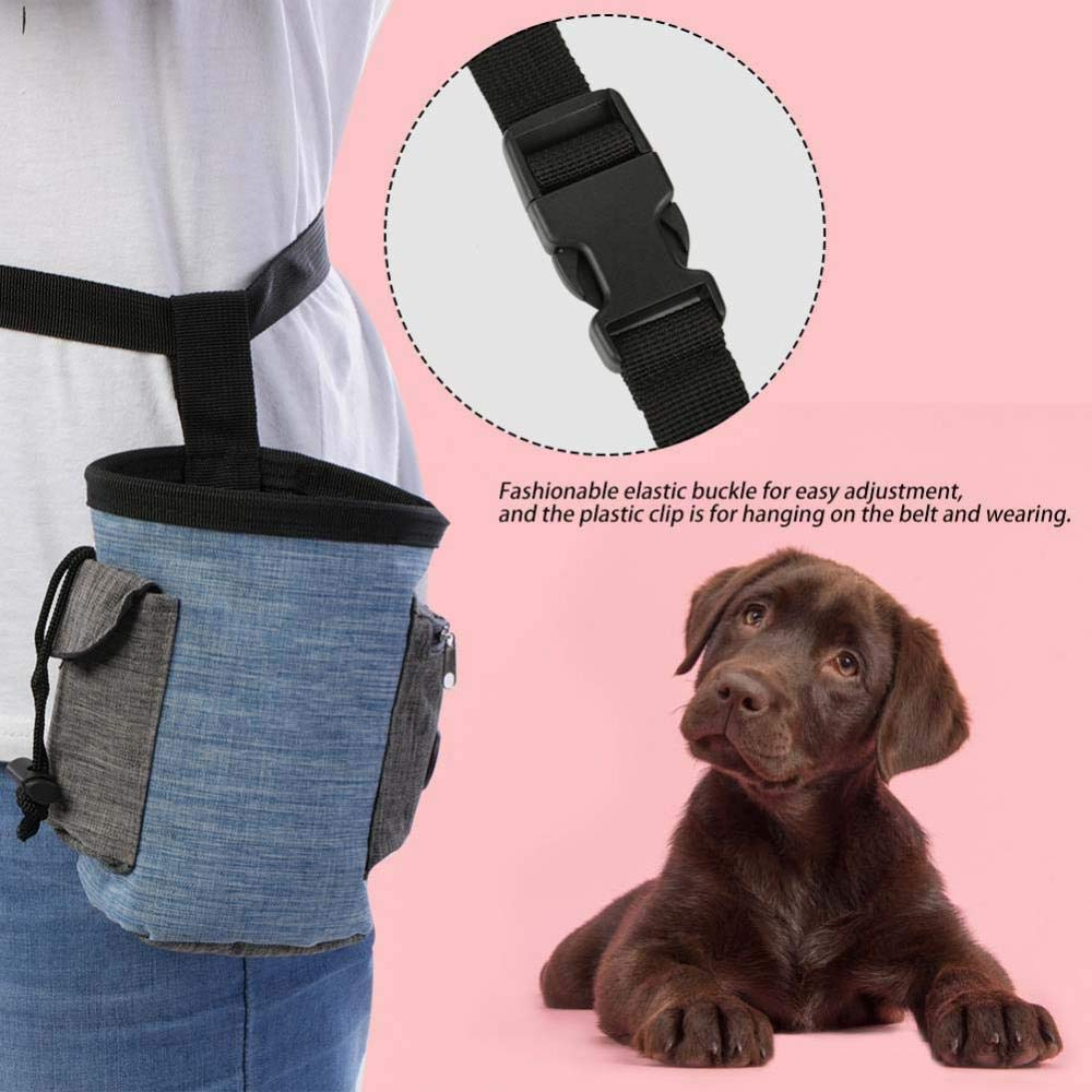 Pet Treat Bag Dog Obedience Training/Waist Pouch Pet Reward Pouch Bait Bag Multi-Functional Pet Storage Bag with and Built-in Poop Bag Dispenser Brown