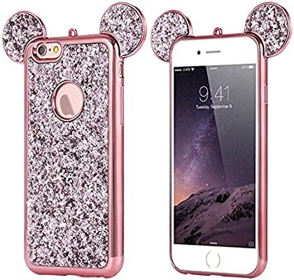 Amazon Com Rhinestone Mouse Ears For Apple Iphone 7 Plus 8 Plus By Tech Express Design Cover Chrome Bumper Bling Sparkle Mickey Glitter Diamond Character Drop Protection Minnie Cover Tpu Case Rose Gold