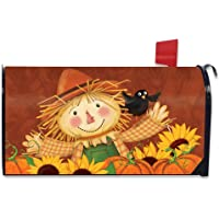 Briarwood Lane Happy Scarecrow Fall Magnetic Mailbox Cover Sunflowers Standard